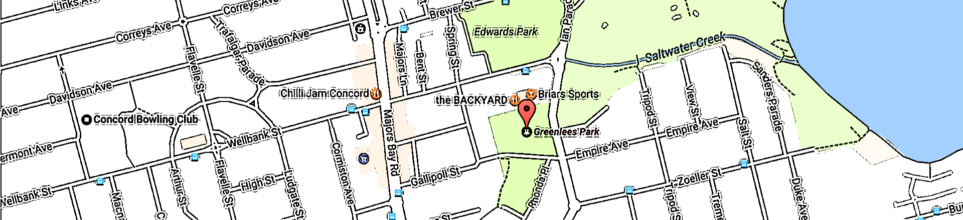 Filtered map of Briars Greenlees sports club